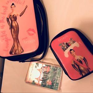 NEW 3pc Benefits Cosmetic Travel -cases & passport